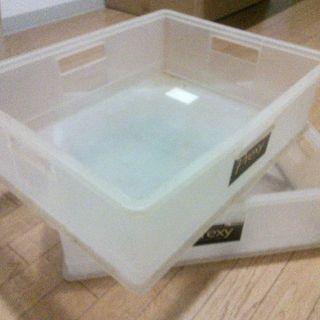【柏の葉(無料)】プラスチック整理箱!二個!.+:。 ヾ(◎´∀`...
