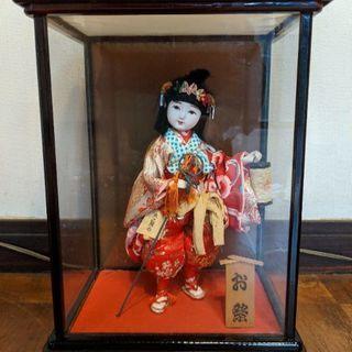 日本人形「お祭り」ガラスケース入り、無料で差し上げます。
