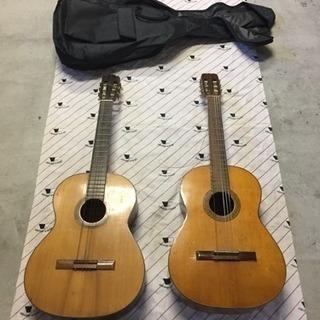 アコースティックギター 2本 ギターケース1枚付き 弦一部無