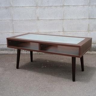 ガラスはめ込みテーブル センターテーブル ローテーブル 90×45...