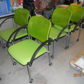 クルマ付きひじ掛け椅子 ライムグリーンメッシュ 4脚