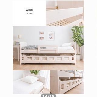 二段ベッド/天然木パイン無垢親子ベッド ツインベッド/ マットレス...