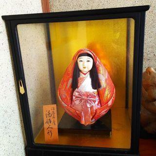 伊予 湯姫人形(ガラスケース入り)人形高さ 26㎝