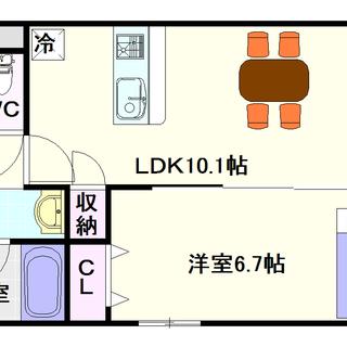 【ラクレシェンテ】3号タイプ!1LDKタイプ!ネット無料ってだいぶお得!