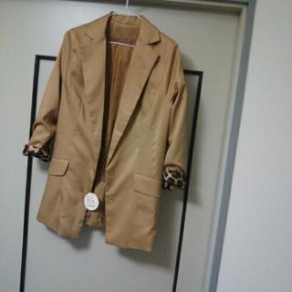 袖レオパード柄ジャケット