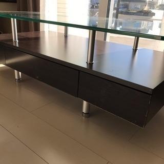 収納付リビングテーブル ガラステーブル