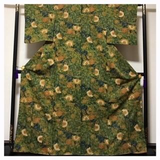 高級呉服 美品 京友禅 小紋 作家物 大サイズ 唐草花 正絹 中古品