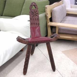 スペイン アンティーク調 シェファードスツール レザー×木 飾り椅...
