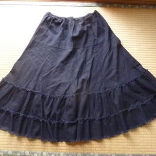 ウェスト 総ゴム 紺色フレアスカート