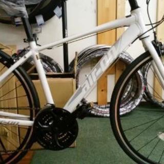 【新車】アルミフレームクロスバイク3×7段 白【キャッシュレス還...