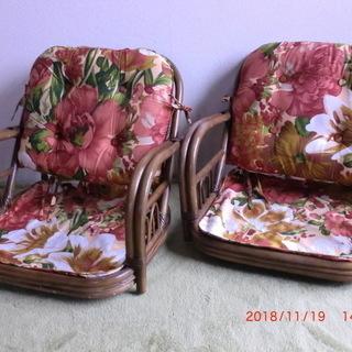 籐回転座椅子(ロータイプ)2脚セット