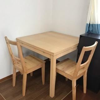 IKEA伸縮テーブル 椅子二脚付き