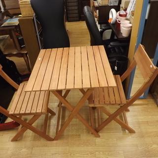 木製 ガーデニングテーブル イス×2脚 セット 折りたたみ 幅:6...