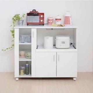 超美品【11/23日まで】シンプルなキッチンカウンター 食器棚 レ...