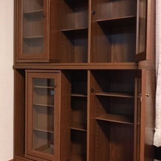 スライド式 本棚 ガラス扉付き 棚位置自由