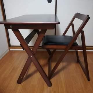 デスク チェア セット 木製 折りたたみ 折りたたみテーブル