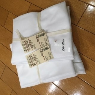 ★無印良品プリーツカーテン★100x103cm丈★ポリエステル透け...