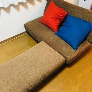 IKEA2人掛けソファ (フットレ...