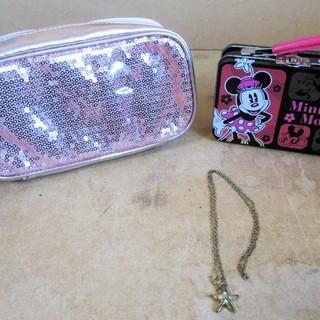 ☆姫系小物3点セット ピンクのポーチ ミニーちゃんの缶 星のネッ...