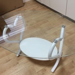 【だ円  ガラステーブル   ハートモチーフ】美品