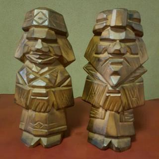 アイヌ木彫り人形ペア