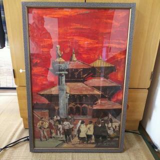 油絵 ネパール ボタナート シャタボラ寺院