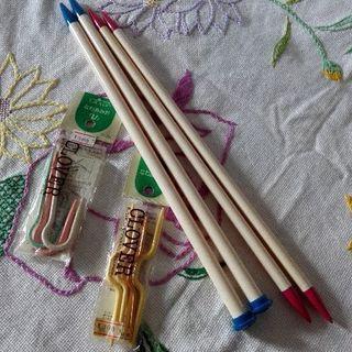 編み物(その2)  縄編み針2袋で100円【ムベの毛糸玉】