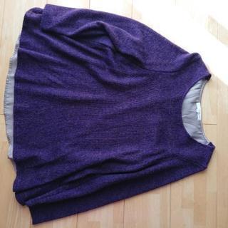 レディース Lサイズパープルの Aラインセーター