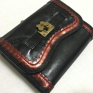 アナスイ 黒革 レザー 3折財布 花柄飾り とても綺麗です