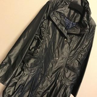 【新品】黒 ロング ジャケットコート ドット M L 膝丈  長...