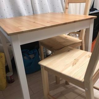 ★ ダイニングテーブル & 椅子セット ★ 木目調 IKEA製 ...