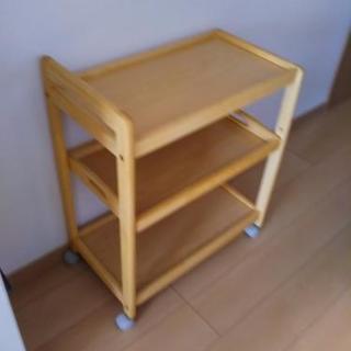 ナチュラル木製キッチンワゴン