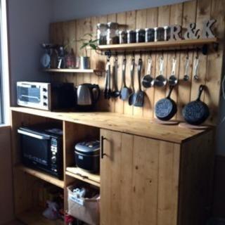 木製 食器棚 ウッドカップボード