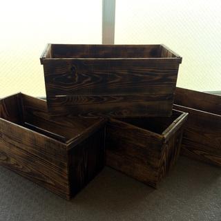 【アンティーク】りんご箱 4箱セット 焼入れ加工