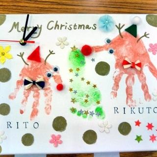 神戸・12月15日赤ちゃんと手形ぺったんアートで世界に一つの時計作り