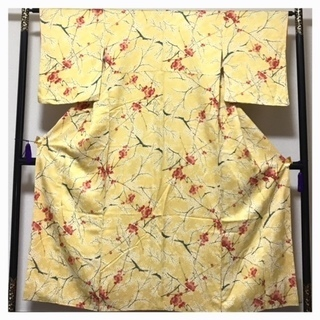 未使用 仕付け付き 上質 正絹 小紋 花模様 黄色 袷 中古品