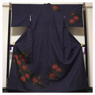 極上 上質 紬 個性派 花模様 優美 訪問着 正絹 袷 紫 中古品