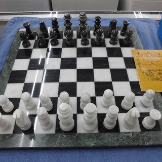 グリーン&ホワイト マーブル チェスセット 大理石 西岡店
