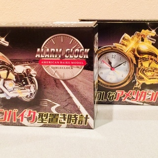 COOLなアメリカンバイク型置き時計2種セット(シルバー・ゴールド...
