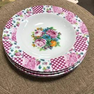 週末限定価格! 花柄 ピンク ドット 水玉 皿 4枚セット