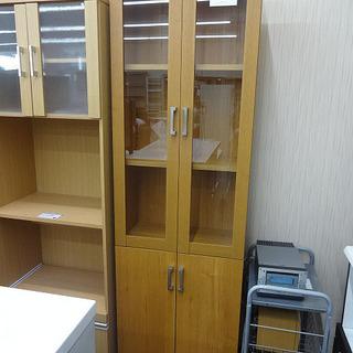 札幌 引き取り 食器棚 スリムタイプ 木製 ガラス扉 キッチン収...