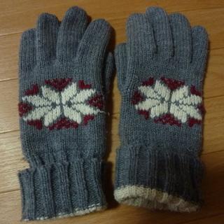 グレー ノルディック柄手袋