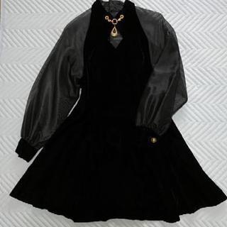 黒 ベロア シースルー ドレスM 9号