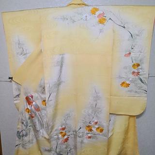 振り袖☆正絹 淡い黄色に雉子文様