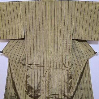 正絹 紬 袷 小紋 辛子色 縦縞