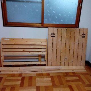 木製シングルベッド コンセント付き