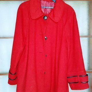 wool50%コート赤