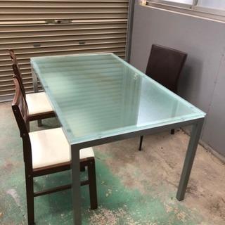 ダイニングセット ガラステーブル 椅子1脚セット