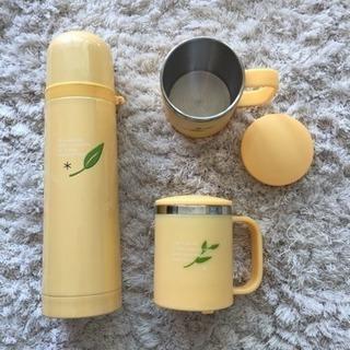 ステンレス水筒&蓋付きステンレスマグ2個セット