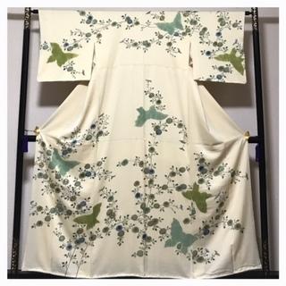 極上 正絹 訪問着 絞り 蝶々 花模様 クリーム 袷 中古品